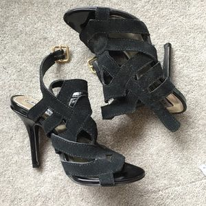 "Steve Madden 4"" black leather strappy heels 6"